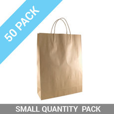 50 PACK - Brown Kraft Paper Gift Bag Midi