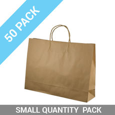 50 PACK - Brown Kraft Paper Gift Bag Midi Boutique