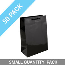 50 PACK - Gloss Black Paper Gift Bag Baby