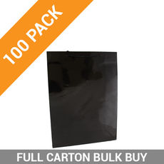 Gloss Black Paper Bag Large - 100PK