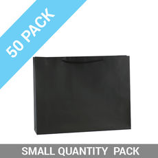 50 PACK - Matt Black Paper Bag Large Boutique