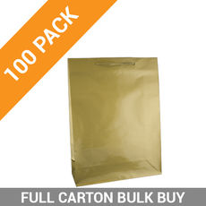Gloss Gold Paper Gift Bag Large - 100PK