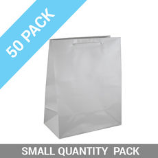 50 PACK - Gloss White Paper Gift Bag Medium