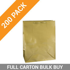 Gloss Gold Paper Gift Bag Medium - 200PK