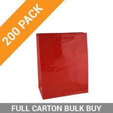 Gloss Red Paper Bag Medium - 200PK