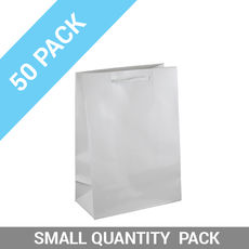 50 PACK - Gloss White Paper Gift Bag Small