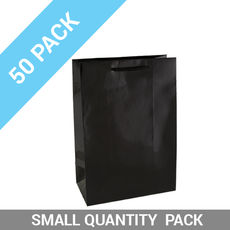 50 PACK - Gloss Black Paper Gift Bag Small