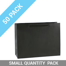 50 PACK - Matt Black Paper Gift Bag Small Boutique