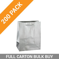 Gloss Silver Paper Bag Small Boutique - 200PK
