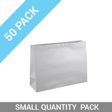 50 PACK - Gloss White Paper Gift Bag Small Boutique