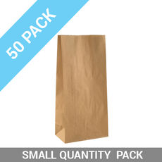 50 PACK - Flat Bottom Brown Bag - Medium