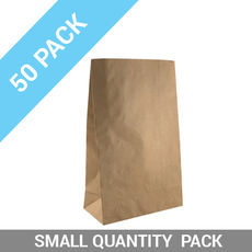 50 PACK - Flat Bottom Brown Bag - Supermarket Small