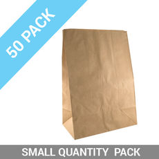 50 PACK - Flat Bottom Brown Bag - Supermarket Large