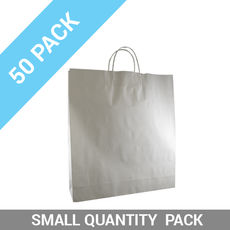 50 PACK - White Kraft Paper Gift Bag Large