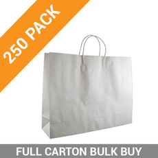 White Kraft Paper Bag Boutique - 250PK