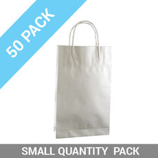 50 PACK - White Kraft Paper Gift Bag Baby