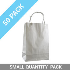 50 PACK - White Kraft Paper Gift Bag Junior