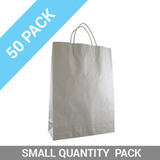 50 PACK - White Kraft Paper Gift Bag Midi