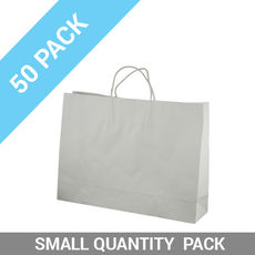 50 PACK - White Kraft Paper Gift Bag Midi Boutique