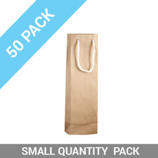 50 PACK - Wine Gift Bag Single Striped Beige