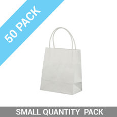 50 PACK - White Kraft Paper Gift Bag Toddler