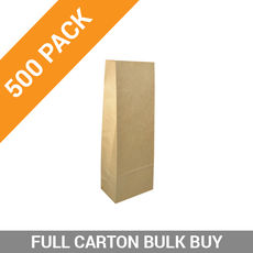 500PK Retail 500g Paper Bag - Brown Tin Tie
