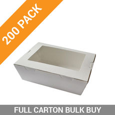 200PK Lunch Boxes Window - Large White