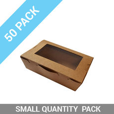50PK Lunch Boxes Window - Small Brown
