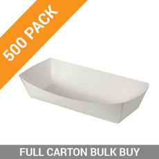 500PK Food Trays 4 - Large White