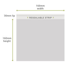 Resealable Bags & Clear Cellophane Bags -  160mm x 160mm + 30mm Lip (100PK)