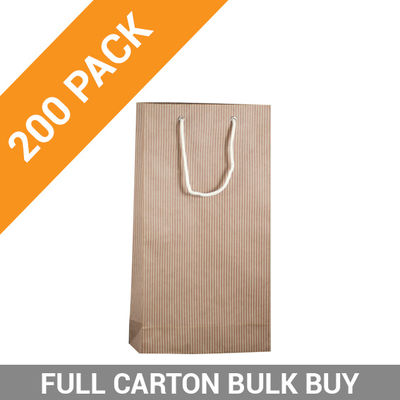 Wine Bag Double Striped Beige - 200PK