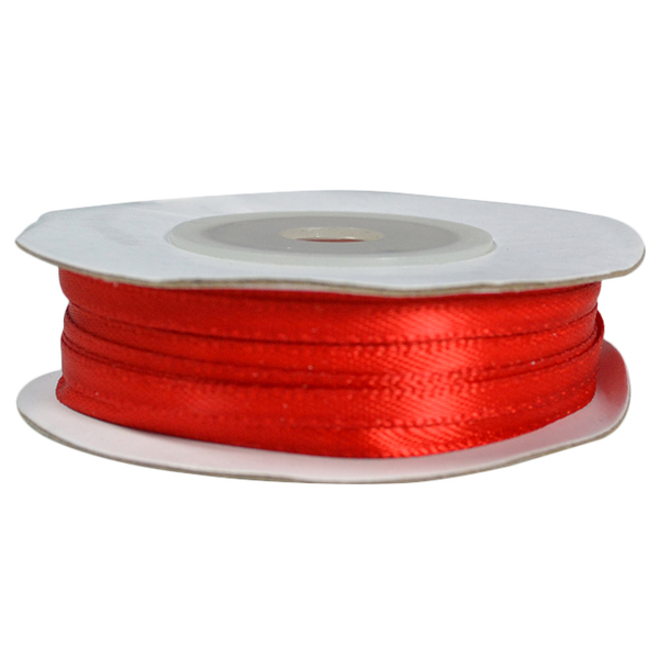 Satin Ribbon (3mm x 22metres) - Red Gift Wrapping & Decoration