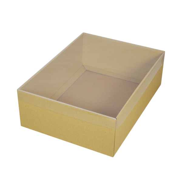 Cardboard Gift Box - Brown 100mm High with Clear Lid