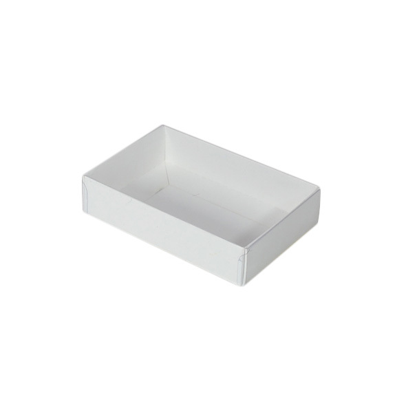 Rectangle 6 Gift Box with Clear Lid - Smooth White (White Inside)