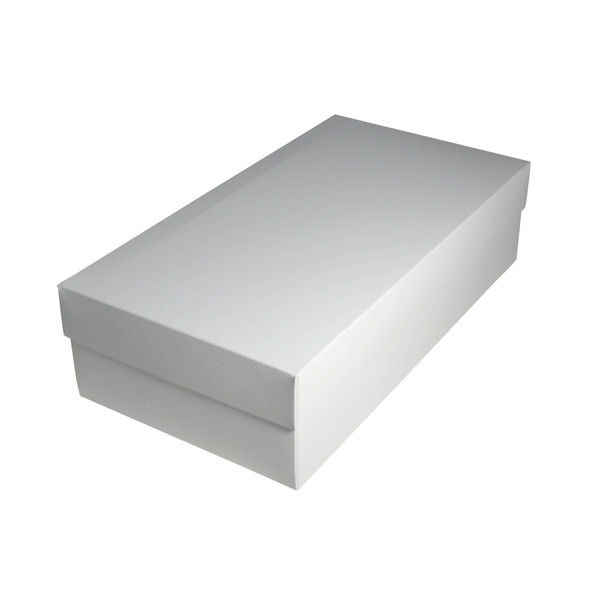 Slim Line Double Wine Gift Box - Gloss White (optional insert available) (White Inside)