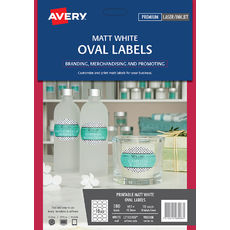 White Oval Removable Product Labels, L7101REV, 180/Pack, 63.5 x 42.3 mm