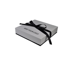 CUSTOM  PRINTED Rigid Black & White with Bow Necklace Jewellery Box (with removable black/white reversable velvet foam insert)