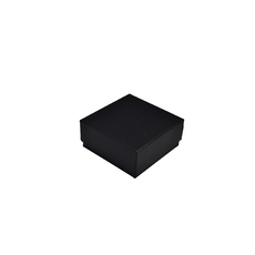 Rigid Cardboard Standard Square Jewellery Box - Matt Black  (with removable black/white reversable suede foam insert)