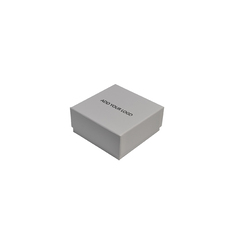 ORDERS CLOSED FOR 2019-CUSTOM PRINTED Rigid Cardboard Standard Square Jewellery Box - Matt White - removable black/white reversable suede foam insert)
