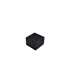 Rigid Linen Small Jewellery Box for Rings, Earrings, Pendants - Charcoal Black (with removable black/white reversable leatherette foam insert) - 1INSE