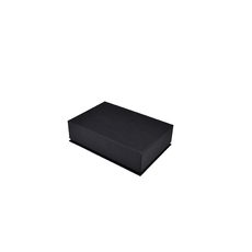 Rigid Linen Pendant Jewellery Box - Charcoal Black (with removable black/white reversable leatherette foam insert)
