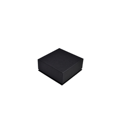 Rigid Linen Square Jewellery Box - Charcoal Black  (with removable black/white reversable leatherette foam insert)