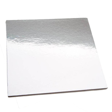 10 Inch Square Cake Board - Silver 50PK (Standard 2.5mm thick board)