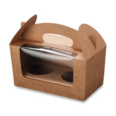 SAMPLE - Carry Cupcakes Boxes - 2 Cupcakes - Kraft Brown (Includes box and removable insert)