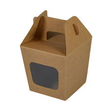 Party Boxes with Window Corf 2 - Kraft Brown