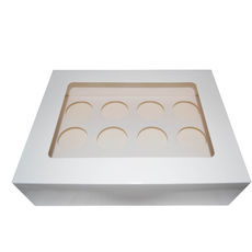 12 Cupcake Box with removable insert - Gloss White
