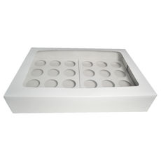 24 Cupcake Box with two removable inserts - Gloss White