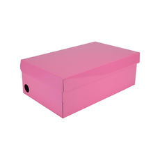 One Piece Shoe Box with Ventilation Pull Hole - Premium Gloss Baby Pink (White Inside)