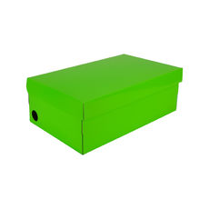 One Piece Shoe Box with Ventilation Pull Hole - Premium Gloss Lime Green (White Inside)