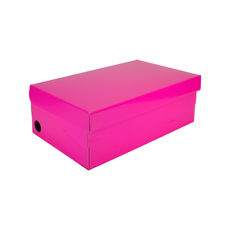 One Piece Shoe Box with Ventilation Pull Hole - Premium Matt Hot Pink (White Inside)